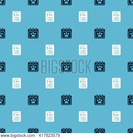 Set Calendar Grooming And Grooming Salon Price List On Seamless Pattern. Vector