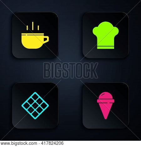 Set Ice Cream In Waffle Cone, Coffee Cup, Waffle And Chef Hat. Black Square Button. Vector