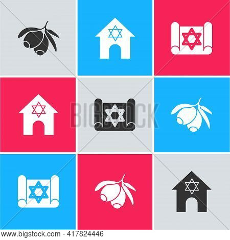 Set Olives Branch, Jewish Synagogue And Torah Scroll Icon. Vector