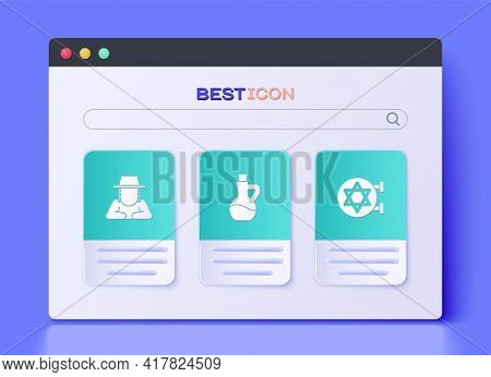 Set Bottle Of Olive Oil, Orthodox Jewish Hat And Jewish Synagogue Icon. Vector