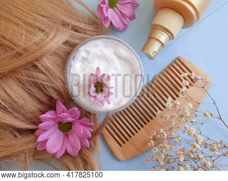 Shampoo, Hair, Wooden Comb  Flower On A Colored Background \n Spa, Natural, Hair,