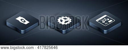 Set Isometric Plaster On Leg, Bicycle Rental Mobile App And Sprocket Crank Icon. Vector
