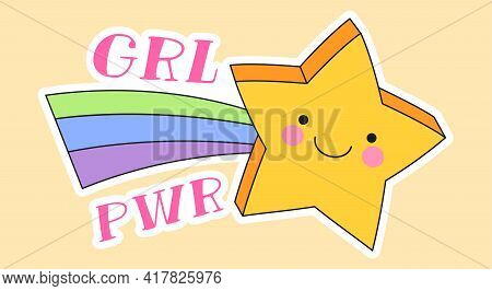 Cute Fashion Patch With Girl Power Lettering Next To Yellow Star With Rainbow. Concept Of Trendy Fas