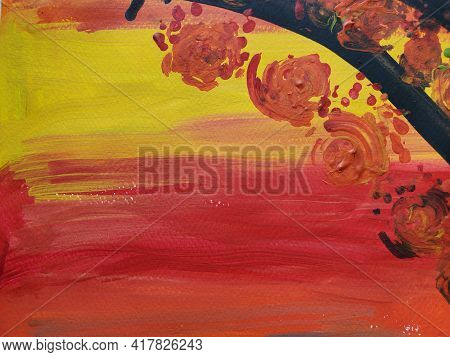 Kids Artwork Of Fall Color Palette Tree Branch And Orange Color Leaves Made As Dots By Cotton Swabs.
