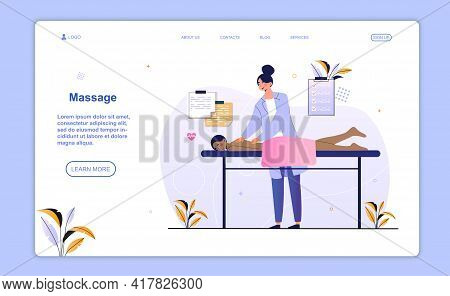 Female Character Enjoing Professional Massage. Woman Getting Back Massage In Luxury Spa With Profess