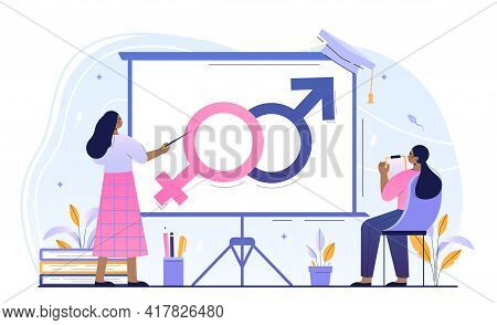 Young Female Character Is Attending Sex Education Class. Concept Of Sexual Health Teaching At School