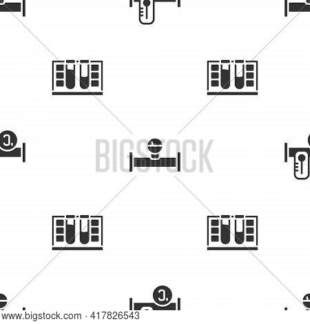 Set Industry Metallic Pipe, And Manometer And Test Tube With Water Drop On Seamless Pattern. Vector