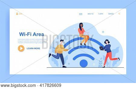 Young Male And Female Characters Are Using Wifi On Their Smartphone And Laptop. Group Of People In W