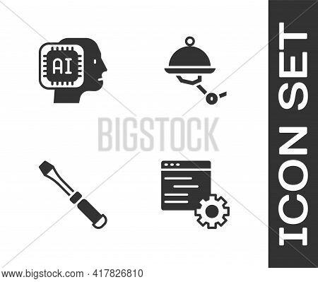 Set Computer Api Interface, Humanoid Robot, Screwdriver And Waiter Icon. Vector