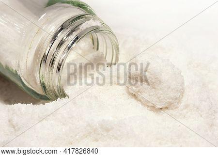 Glass Salt Shaker With Salt Close-up. Table Salt. Salt