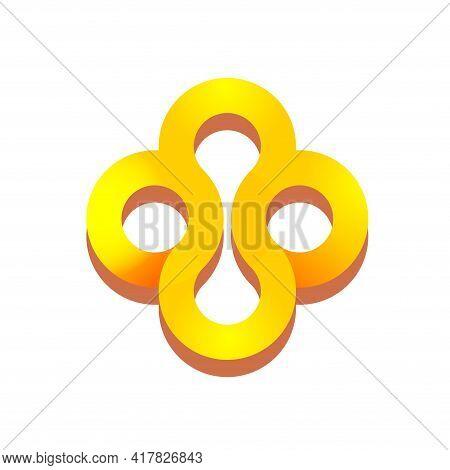 Abstract Golden Precious Jewellery Logo Ornament Vector Icon Concept, Jewel Geometric Elegant Loop I