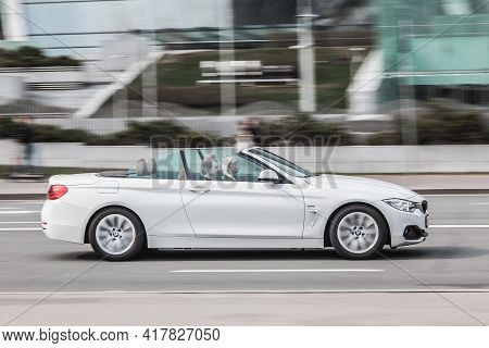 Moscow , Russia - April 2021: White Convertible Car Bmw F33 4-series At The City Street In Motion. S