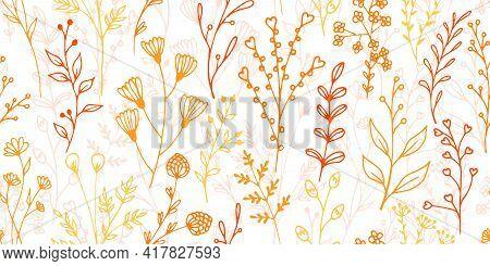 Field Flower Sprigs Hand Drawn Vector Seamless Background. Gentle Floral Graphic Design. Wild Plants