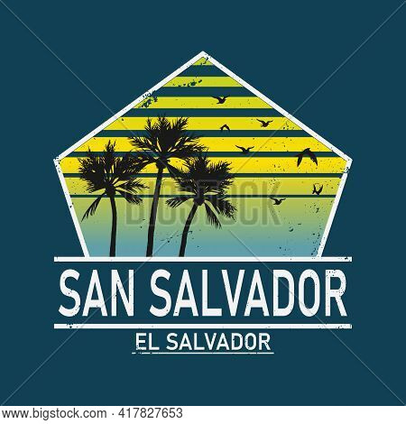 Welcome To San Salvador El Salvador Card And Letter Design In Colorful Rainbow Color And Typographic