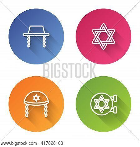 Set Line Orthodox Jewish Hat, Star Of David, Jewish Kippah And Synagogue. Color Circle Button. Vecto