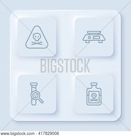 Set Line Triangle Warning Toxic, Electronic Scales, Test Tube And Flask And Poison Bottle. White Squ