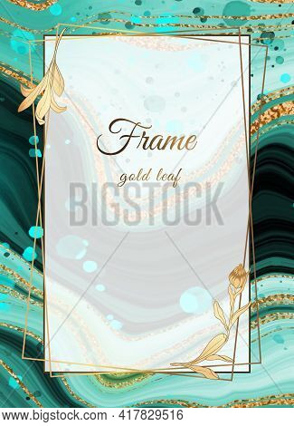 Gold Marble Design Green. Gold Frame. A Beautiful Combination Of Sea Marble, Beautiful Streaks And S