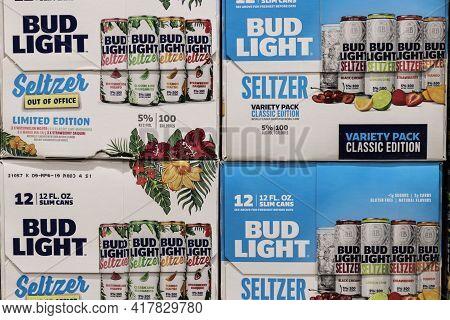 Indianapolis - Circa April 2021: Bud Light Seltzer Display. Alcoholic Seltzer Sales, Including Bud L