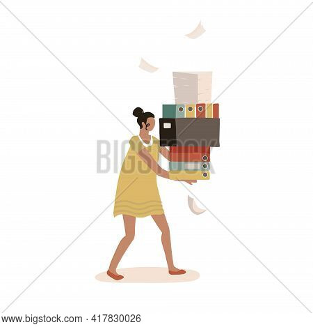 Paper Bureaucracy Concept. Young Female Character Carrying A Big Heap Of Paper Documents, Flolders,