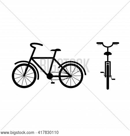 Travel Bicycle Silhouette, Front And Side View. Bike For Travel. Hobby. Flat Style Vector Illustrati