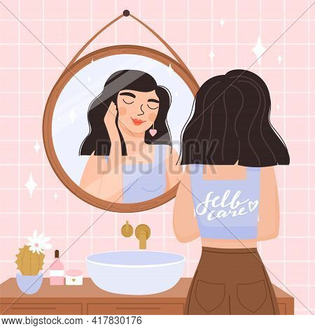 Girl Stands In Front Of A Mirror And Looking At Herself In In Reflection. Everyday Beauty Routine. S