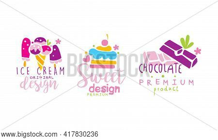 Confectionery Emblems With Sweet Cupcake And Sugary Dessert Vector Set