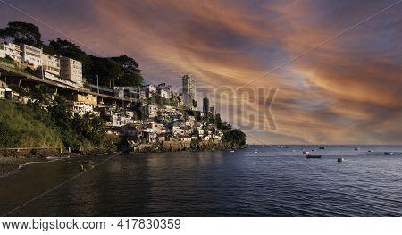 View Of The Gamboa Community On The Edge Of Todos Os Santos Bay Salvador Bahia Brazil.