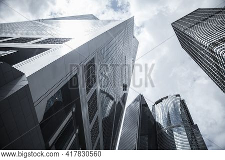 Skyline With Modern Commercial Skyscrapers, High-rise Office Buildings In Hong Kong City