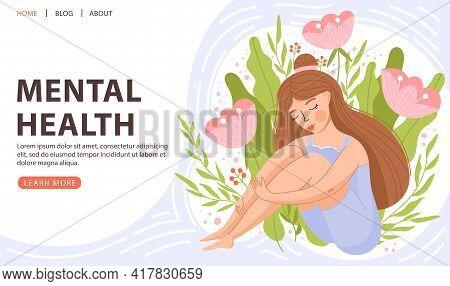 Mental Health, Positive Mindset Or Self Care Concept. Cute Girl Sitting And Hugging Her Knees. Posit