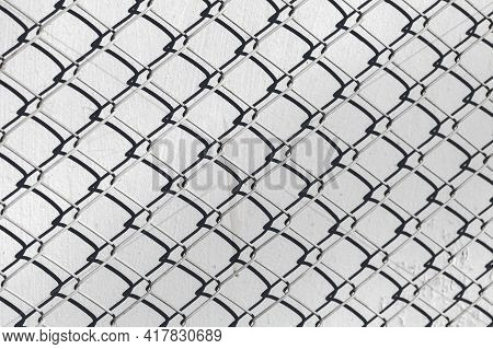 Fence Cage Rabitz Covered Old Gray Wall, Background Photo Texture