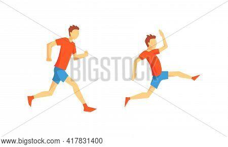 Young Male Running Marathon Sprinting Forward Vector Set