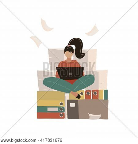 Woman At Work Doing Yoga Lotus Pose. Pile Of Paper, Busy Stressed Employee Sitting On Stack Of Docum