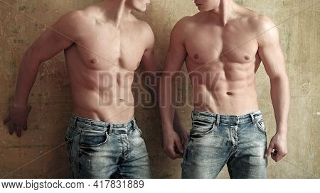 Sexy Muscular Athletes Men With Bare Naked Body Torso.