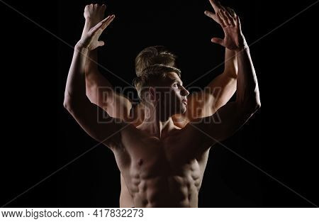 Strong Athletic Men, Fit Male Models. Sexy Muscular Men With Bare Naked Body Torso. Man Naked Torso