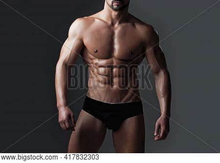 Sexy Muscular Men With Bare Naked Body Torso. Naked Body And Strong Torso Of Male Athlete In Underwe