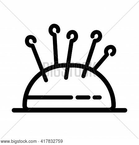Needle Pillow Line Icon. Outline Needle Pillow Vector Logo For Web Design Isolated On White Backgrou