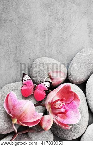 Spa Stones, Butterfly And Pink Orchid On The Grey Background.