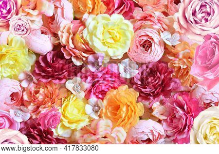 Colorful Roses And Small Flowers Background. Beautiful, Good For Holidays And Gift.