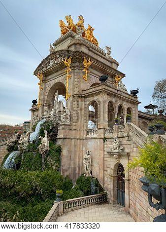 Barcelona, Spain, 10 March 2020 - Cascada Del Parc De La Ciutadella - Water Cascade And Stone Monume