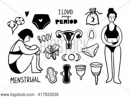 Hand Drawn Menstrual Set Of Design Elements. Vector Illustration. Doodle Period Collection. Women Se