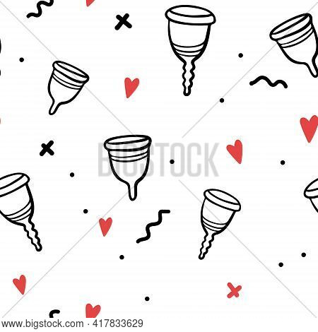 Hand-drawn Menstrual Cup Seamless Pattern. Vector Line Illustration. Period Pattern Isolated. Zero-w