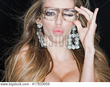 Sexy Woman. Funny Woman In Old Glasses Looks Hot. Lady With Big Breasts Needs Eyeglasses. Beauty Fem