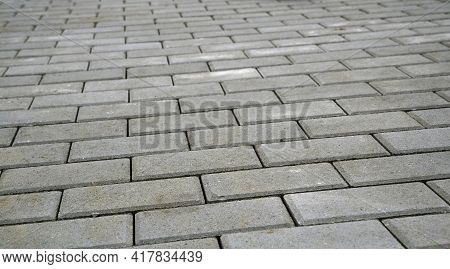 Photograph Of Gray Interlocking Paving For Use As A Background