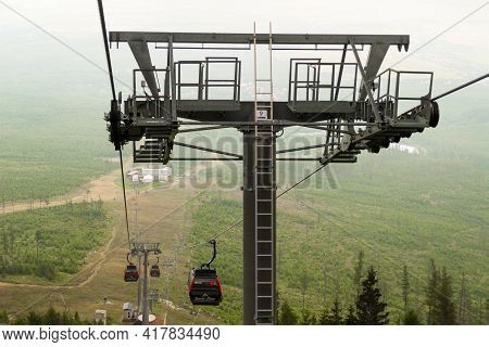 View From Cable Car Or Funicular In High Tatras In Slovakia, April 2021, High Tatras, Slovakia.