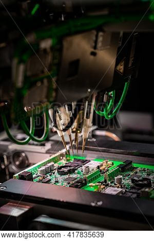 Electronic Circuit Board Production. Automated Circut Board Machine Produces Printed Digital Electro
