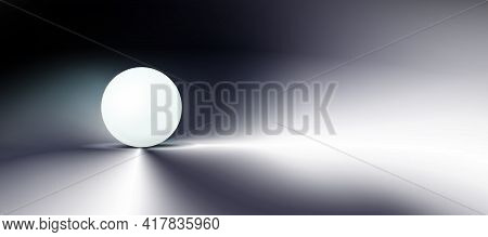 Dark Abstract Background, Tech Composition, Sphere, White Ball In Darkness. Clean, Round Object, Orb