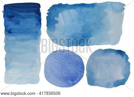 Set Blue Watercolor Stains. Watercolor. Smooth Transition Of Wet Paint And Transition With Brush Str