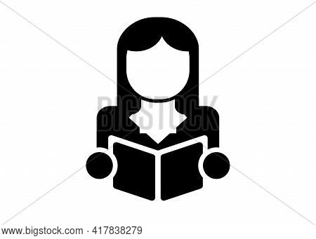 Stylized Silhouette Of A Male Woman With A Book In His Hands For The Design Of Tabletop Role-playing