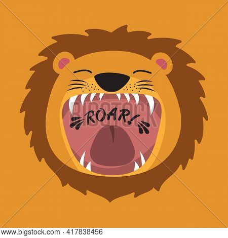 Cute Cartoon Lion With Open Mouth Roaring.
