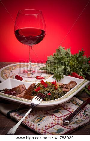 Broccoli Rabe With Sausages And Red Wine